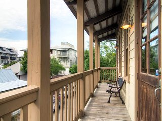 Access to the Big Thyme Carriage House is from the balcony, where you'll get a view of the surrounding community