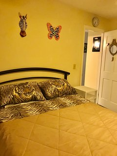 Zebra bedroom with Queen bed