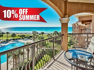 20% OFF 6/20-6/23! GULF VIEW w/ Balcony, Pool/Spa +FREE Beach Service &Perks