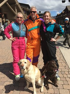 Vintage ski suits with my daughters.