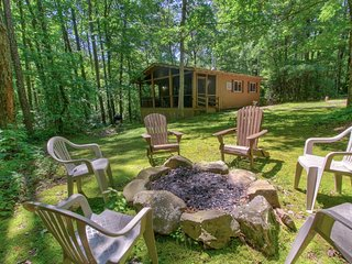 NEW LISTING! Woodland cabin w/hot tub, firepit & screened porch-2 small dogs OK