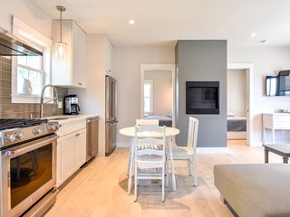#102: NEW renovation; modern; private patio; walk to town!