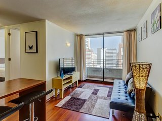 Chic, convenient condo with balcony & shared pool in the heart of the city.