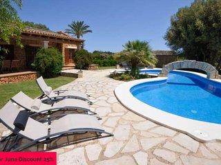 Villa 8 paxin Porto Cristo. Private Pool. 4 bedrooms. A/C. Mallorca -87012- - F