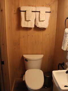 Bidet and sink, bath towels and washcloths are provided.