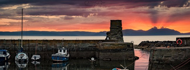 Sunset over Dunure Harbour (where Outlander was filmed) by kind courtesy of PictureSQue photography