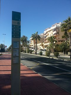 Bus stops for routes to the Marina, Pueblo, Malaga, Fuengirola, La Cala etc are close by