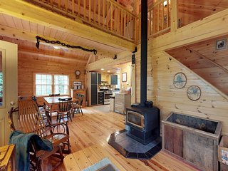 Dog-friendly log cabin with gorgeous lake views near beach & snowmobile trails!
