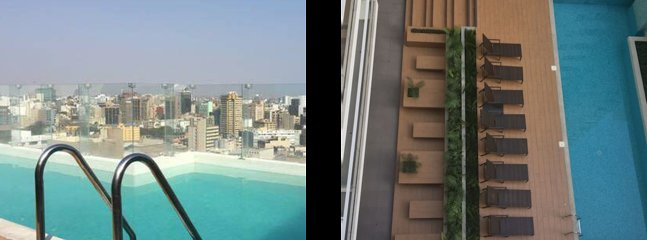 View from both pools (L) top floor and (R) view from Condo Unit to ground floor pool