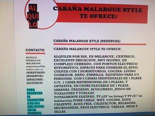 CABANA MALARGUE STYLE,PARA 4/5PERSONAS,A 1 CUADRA DE LA TERMINAL Y DEL CENTRO