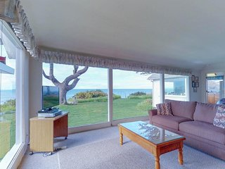 Dog-friendly, oceanfront rental w/ patio, incredible lighthouse & ocean views