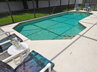 Fully screened south-west facing private pool with sun loungers