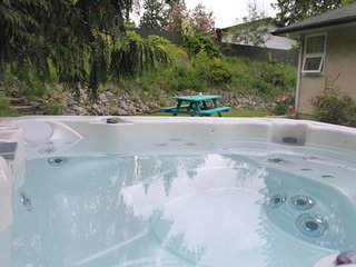 Hot tub in a private garden setting
