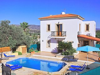 Modern villa with pool and colourful gardens, close to Polis