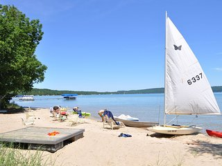 Beautiful sandy beach at west end of Crystal Lake