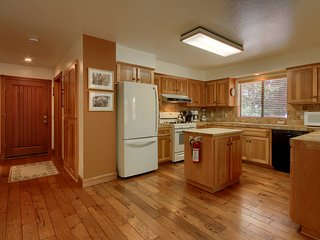 Kitchen, gas range, dishwasher all tiled counter top
