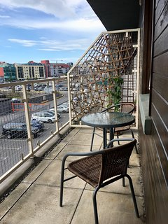Apartment balcony overlooking Galway Harbour