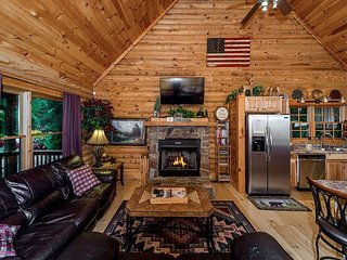 3BR Riverside Log Home on 1 Acre w/ Private Hot Tub – Near Lake & Beach