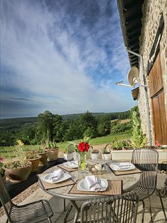 Breakfast at the front of the Farmhouse with stunning views.