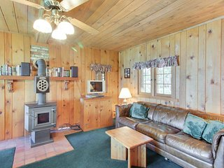 Lakefront cabin with private beach and dock, short drive to town, ski resort!