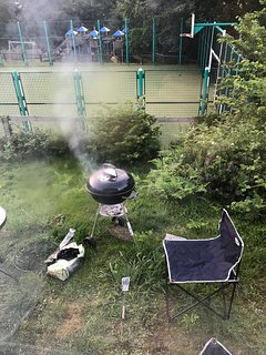 You can use the barbecue please pull it off decking onto the grass in front of caravan