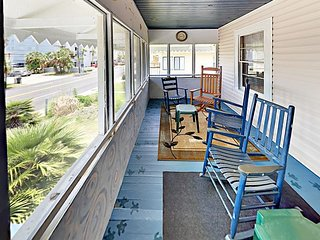 5BR Vintage Bungalow w/ Screened Porch: Steps to Beach, 1 Mile to Main Street