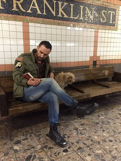 My dog + my friend waiting for the subway down the block