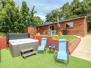 TAMAR LODGE, woodburner, hot tub, hillside, in Hatt