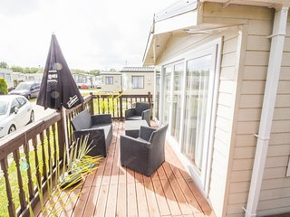 8 Berth Holiday Home at  Broadland sands, large pitch with decking. Ref 20383