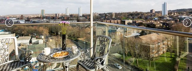 Spacious private balcony south facing with great views over Greenwich