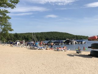 Beach at the lake at Big Boulder Club