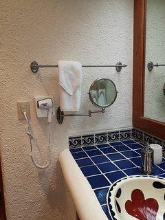 Hair dryer and vanity mirrow