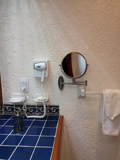 Hair dryer and vanity Mirrow at master bathroom