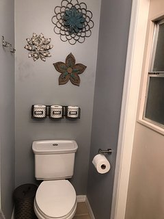 half bathroom downstairs with access to pool area