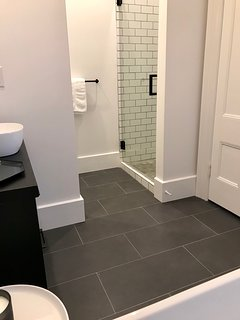 separate tiled shower