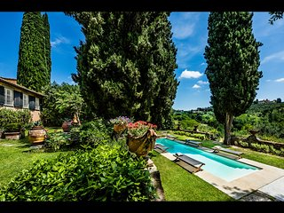 Side view of villa, private garden and private pool