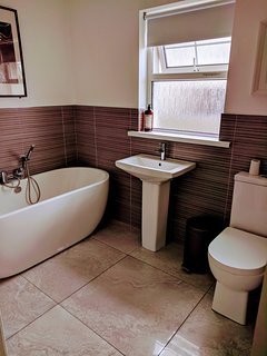 Recently upgraded bathroom with large shower cubicle.