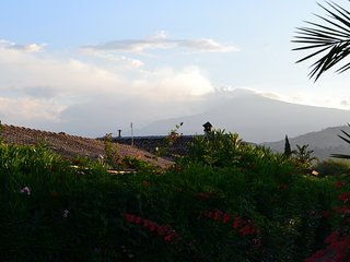 the farmstead with the Etna volcano in the background
