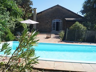 semi detached house with private pool in a castle