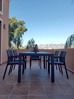 Big terrace with mountain view with dining table up to 15 people