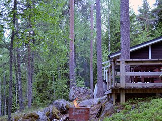 Wonderful traditional Finnish holiday house in silent forest lake