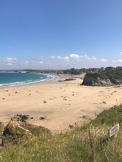 view looking from Newquay right across the bay all the way to Watergate