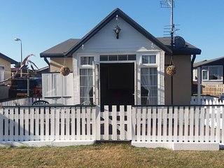 Sandy Shores Detached Holiday Chalet - South Facing, Fenced, Decking area.