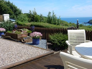Patio overlooking the sea at Portclew