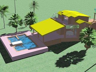 Villa avec piscine en bord de mer sur une ile du Senegal