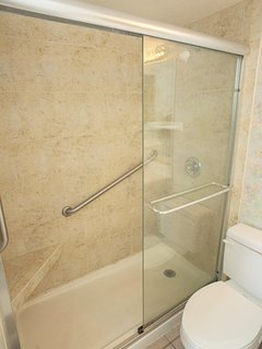 Walk in shower with wall mounted seat