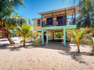 Beachfront villa w/ deck, hammock & sea view - right on the sand & The Sidewalk!