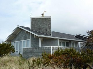 Oceanfront home with basement game room, beach access right out the back door!