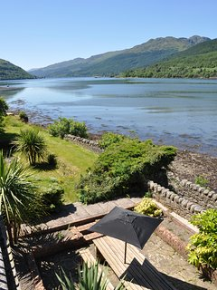 View of garden and loch from balcony