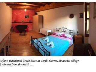 Traditional Greek village house, near the sea, Corfu, Greece relaxing holidays